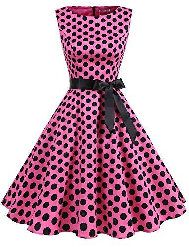 Gardenwed Damen Vintage 1950er Partykleid Rockabilly Ärmellos Retro Cocktailkleid Pink Black Dot M