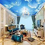 BIZHIGE 3D Murales Murales De Photo De Plafond avec Le Nuage Et Le Ciel Bleu pour Le Salon Chambre Hall 3D Murales Murales HD Murales De Fresque-300 × 200Cm