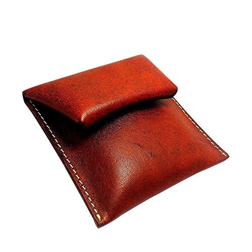 UK_Stone Unisex Handgemacht Originell Bueffel Echt Feder Muenzboerse Geldbeutel Portemonnaie Rot Braun