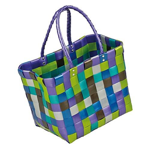 LaFiore24 Grosse original Shopper Einkaufstasche Einkaufskorb Badetasche Strandtasche abwaschbar 40x25 H.28/50cm Lila-Grün-Multi