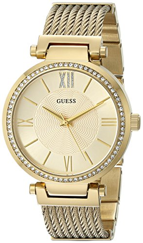 GUESS Women's U0638L2 Sophisticated Gold-Tone Watch with Self-Adjustable Bracelet image