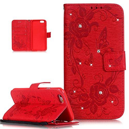 iPhone 6S / 6 Hülle (4,7 Zoll),iPhone 6S Hülle,iPhone 6 Hülle,ikasus® Handyhülle iPhone 6S / 6 Ledercase Tasche Hüllen Brieftasche Luxus Funkelnde Kristall Strass Glänzend Diamant Prägung Rose Blumen  Rot