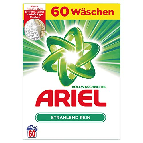 Ariel Vollwaschmittel Pulver Strahlend rein, 60Waschladungen, 3900 g