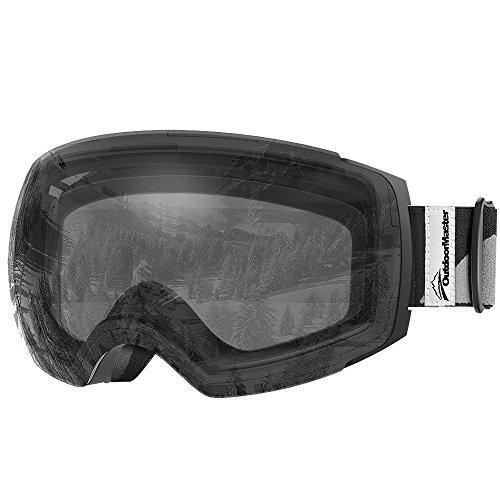 Maschera da sci pro di outdoormaster – lenti intercambiabili frameless, protezione 100% da raggi uv400, occhiali da sci per uomo e donna (vlt 99% lente nera con telaio trasparente e custodia protettiva trasparente )