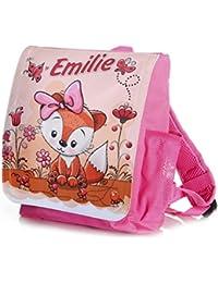 Preisvergleich für Kinderrucksack Fuchs für Mädchen in pink individuell mit Name Bedruckt, ideal für Kita/Kindergarten Kindergartenrucksack