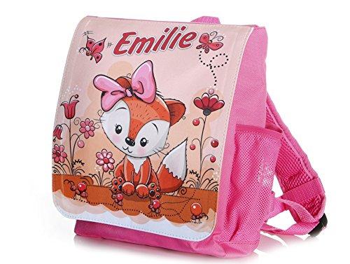 Kinderrucksack Fuchs für Mädchen in pink individuell mit Name bedruckt, ideal für Kita / Kindergarten Kindergartenrucksack (Girls Fox Rucksack)
