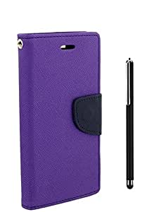 Online Street Royal Diary Flip Cover With Stylus Pen For Samsung Galaxy On 5 - (ORCHID PURPLE + STYLUS)