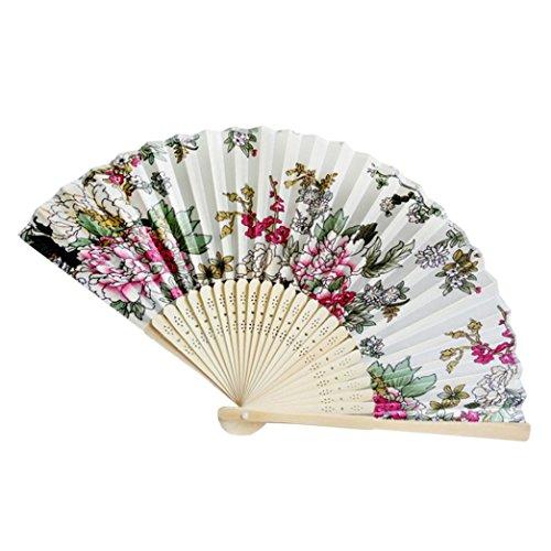 dfächer, Blumenmuster bestickter Stoff, Bambus Satintuch-Fan, Chinesische Klassisch Handfächer Hochzeit Party Dekoration Geschenk (One Size, O) ()
