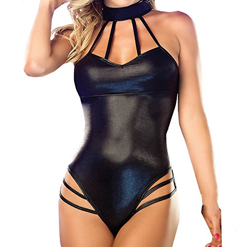 Amcool Dessous Damen Set Große Größen Neckholder Babydoll Erotik Frauen Leder Body Obsessive Wetlook Lack Sissy Provocative Sissy Corsage Nuttiges Brustfrei -