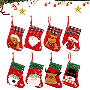 WELLXUNK Calcetín de Navidad,8 pcs