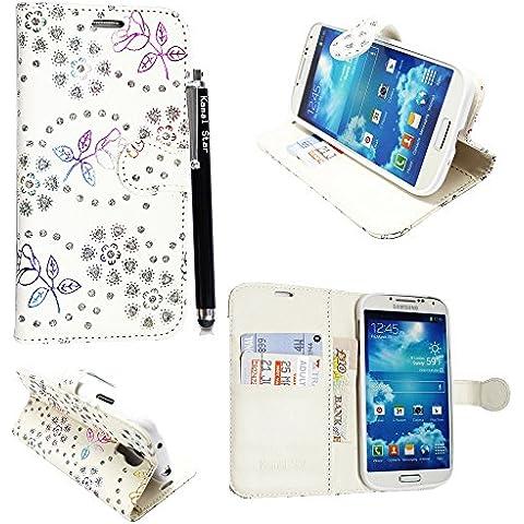 Funda para Samsung Galaxy S4 mini i9190, Kamal Star® Funda Cuero PU Billetera Folio Carcasa, [Stylus Libre] Piel Case Cover con Soporte Plegable para Samsung Galaxy S4 MINI I9190 (Rose White Diamond