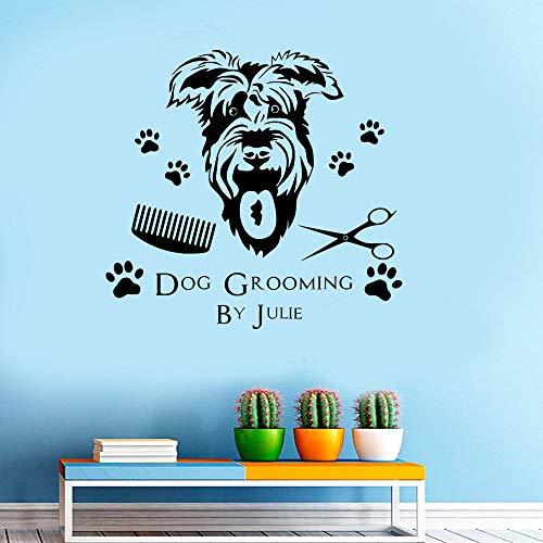 Cane Trasferimento Grooming Quote Wall Stickers per Negozio di Animali Sfondo Soggiorno Decorazione di Arte Vinile Carta da Parati Decalcomanie Murales Nero 92X84cm