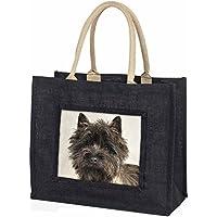 Brindle Cairn Terrier Dog Large Black Shopping Bag Christmas Present Idea