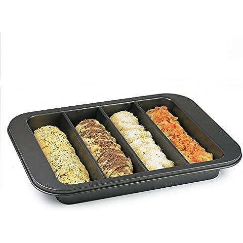 4scomparti divisi antiaderente teglia/stampo per torta, torta, pane, panini, Rotolo, o la panificazione con base rimovibile per facile rilascio