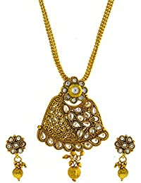 Anuradha Art Gold Finish Styled With White Colour Stones Traditional Pendant Set For Women/Girls