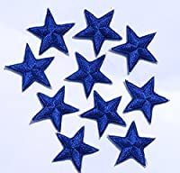 Pack of 10 Blue iron-on or sew-on star patch / applique