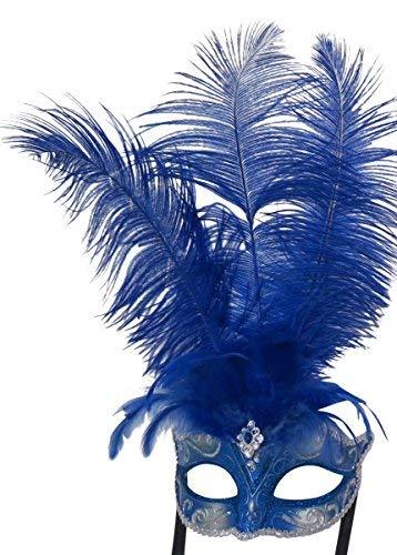 Damen Blau und Silber Feder Venezianischen Masquerade Partei Karneval Maske