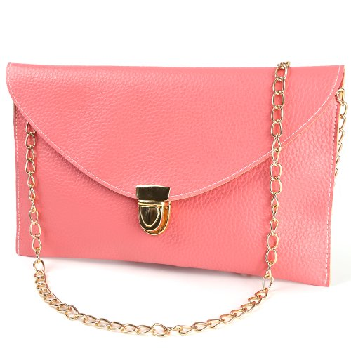 Womens Envelope Clutch Chain Purse carry Handbag Shoulder Bag briefcase Salmon (Hobo Bag Flap)