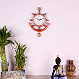 #6: eCraftindia Decorative Retro Anchor Copper Pendulum Wall Clock
