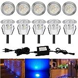 10x LED Spot Eclairage Encastrables Etanche Luminaire pour Terrasse Enterre - en Acier Inoxydable Ø30mm IP67 0.6W, LED Extérieur Lampe de Patio Paysage Jardin Etape Décoration, Bleu