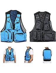 Multi bolsillos de la chaqueta Pesca Caza del acoplamiento del chaleco para hombre de ocio al aire libre