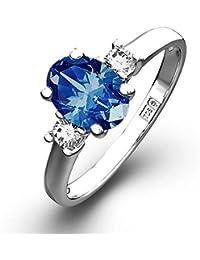 TheDiamondStore | Engagement Ring - Blue Sapphire 1.00ct & Diamond - 18K White Gold
