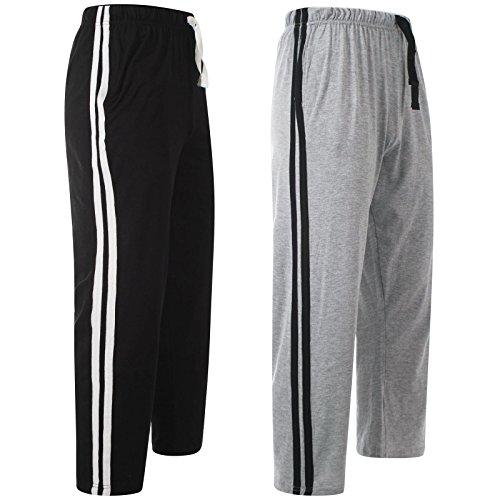 MyShoeStore®, lange Jogginghose für Herren, Nachtwäsche, Freizeitkleidung, einfarbig, casual, leichte Fitnesshose für Erwachsene Gr. M, Black & Grey / 2 Pack