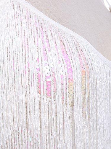 Anna-Kaci Frauen Adjustable Gatsby Pailletten Quaste Fransen Troddel 1920s Flapper ärmellos Schwingen Quasten Rückenfrei Spaghettibügel Party Mini Kleid Weiß