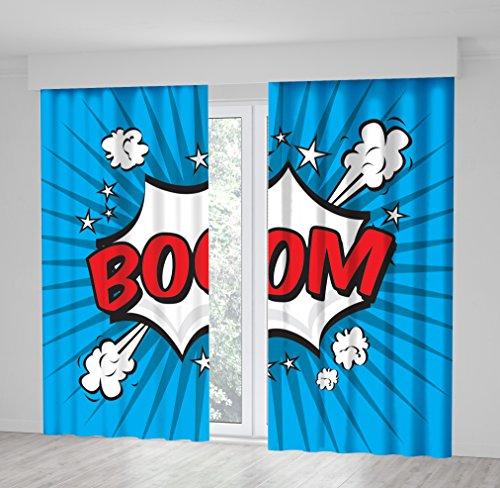 Positive Home Boom Explosion, Rot und Weiß, mit In blau Hintergrund, Pop-Art-Vorhang mit, Polyester, Multi1, 114wide X 86long Inch