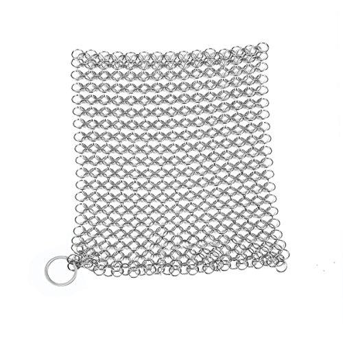 Muzi Edelstahl quadratisch Kettengeflecht Scrubber für Gusseisen sauberer, Pfanne, Wok, Topf und girddle 20x 15cm 20x15cm