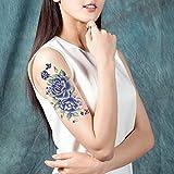 TAFLY Schmetterling Große Pfingstrose Blume Body Art Wasserdicht Temporären Tattoo Transfer Aufkleber 5 Blätter (Blau)