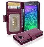 Cadorabo Hülle für Samsung Galaxy Alpha - Hülle in Bordeaux LILA – Handyhülle mit 3 Kartenfächern - Case Cover Schutzhülle Etui Tasche Book Klapp Style