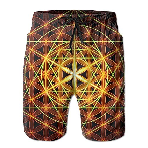 96ee670082 Nicegift Hexagon Flower of Life Men s Beach Shorts Casual Surfing Trunks  Surf Board Pants with Pockets
