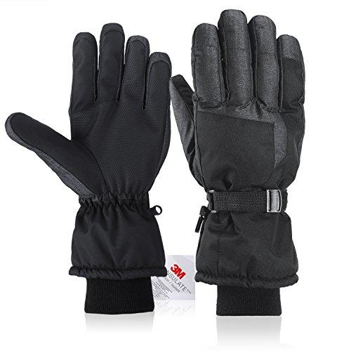 Fazitrip Herren 3M Thinsulate wasserdichte und winddichte Ski Handschuhe mit Touchscreen Fingers Winter Handschuhe (Black/Gray, M/L)