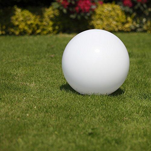 Kugelleuchte 40 cm Ø, weiße Gartenlampe, Außenleuchte, strahlend schöne Deko für Innen & Außen, Gartenbeleuchtung, Gartenkugel für Energiesparlampen E27 & LED - 230 V & 23W, Kugellampe mit IP44