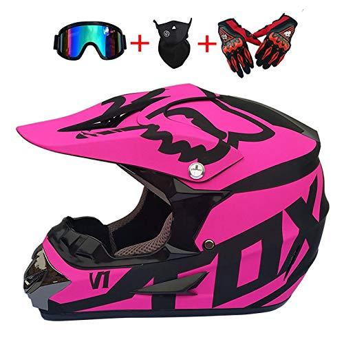 DHShop Motocross-Helm und Schutzbrille (4 Stück) - Schwarz und Blau - Erwachsener Off-Road,Overall-Mountainbike-Helm, Motorrad-Cross-Helm, Teenager-Männer, Damen und Kinder,M