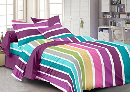 Story@Home Forever 100% Cotton Abstract 240 TC Premium Double Bedsheet with 2 Pillow Cover, MultiColor