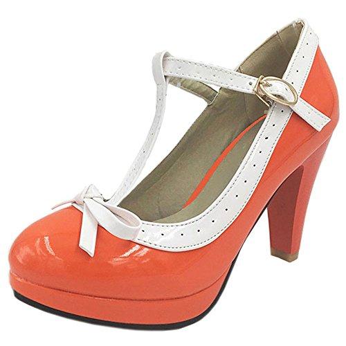 COOLCEPT Damen T-Spange Pumps Hohe Ferse Schuhe Extra Sizes 16 Colors Orange