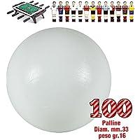 Calcio Balilla set di 100 palline universali HS, prima scelta, colore bianco, per calcio balilla O mm.33, peso gr.16. Rotondita e peso controllati.