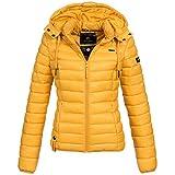 Marikoo Damen Stepp Jacke Daunen Look gesteppt Übergang XS-XXL 10-Farben, Größe:L / 40;Farbe:Gelb