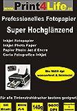 P4L – 50 Blatt Fotopapier DIN A4 , 140g/qm , high -glossy (hoch-glänzend) -sofort trocken -wasserfest-hochweiß-sehr
