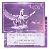 12 Lustige Kinder Einladungskarten im Set für Kindergeburtstag / Einhorn - Pegasus / Einladung zum Geburtstag für Jungen und Mädchen / 12er Kartenset