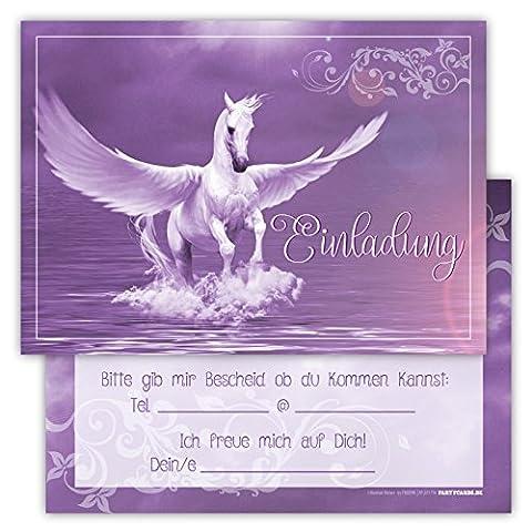 12 Lustige Einladungskarten im Set für Kindergeburtstag mit Pegasus Himmel Wolke Wiese Party für Mädchen Jungen Kinder Partyspiele Karten Rosa Pink witzig Einladung Geburtstag Schimmel Pferd