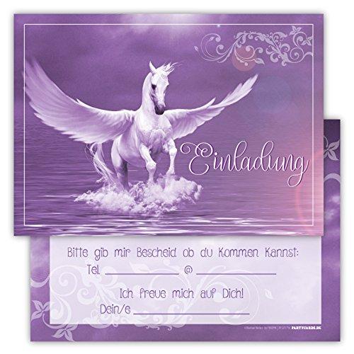 Kostüm Kette Ball Und Zubehör (12 Lustige Einladungskarten Set Kindergeburtstag Pegasus Himmel Wolke Wiese Party Karten Rosa Pink witzig Einladung Geburtstag Schimmel Pferd)