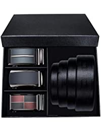 Hi-Tie Ceinture pour homme, cuir véritable Ceinture de robe à cliquet avec 3 cd07de0c705