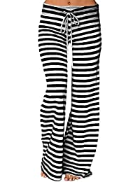 YuanDian Mujer Casual Cordón Impresión Rayas Pantalones Anchos Cintura Baja Pata Ancha Pantalones Palazos Campana Amplios Fluidos Elefante Yoga Pantalones
