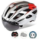 Casco bici, certificato CE, casco da bicicletta con occhiali protezione rimovibili, visiera Shield per uomini e donne Mountain & Road, protezione di sicurezza regolabile, skateboard, sci e snowboard