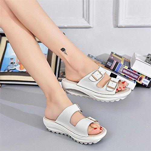 pengweiSandali donna in estate sandali casual ispessimenti White