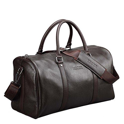 BAIGIO Damen Herren Retro Leder Reisetasche Umhängetasche Weekender Sporttasche Schultertasche Reisegepäck Freizeittasche Groß Handgepäck sehr Praktisch Echtes Leder Schultertasche Tasche,Dunkelbraun