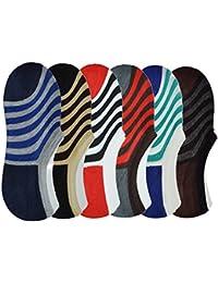Me Stores Men's Loafer Socks No Show Socks Striped Socks (Pack Of 6) (Loaf-Stripe-2_Multicolor)